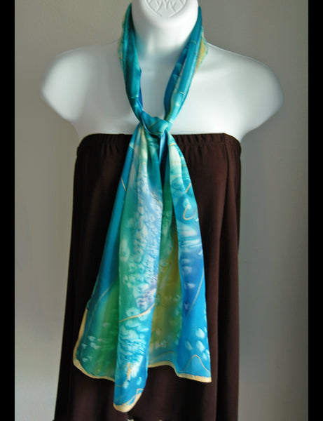 Hand Painted Silk Scarf Blue Water - Linda Tilson Studio Venice