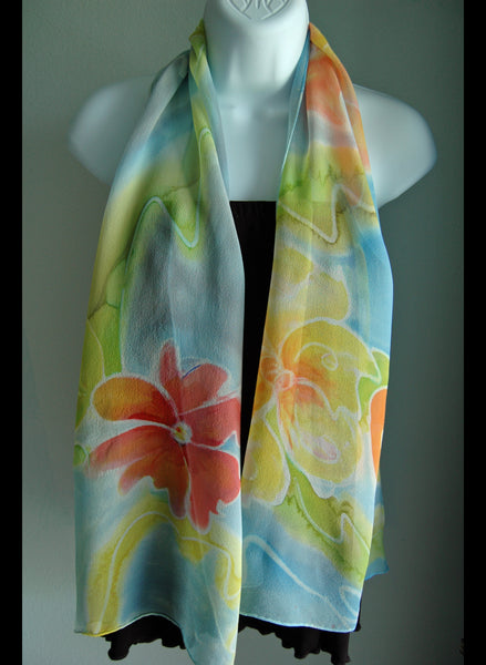 Floral Hand Painted Silk Scarf Chiffon - Linda Tilson Studio Venice