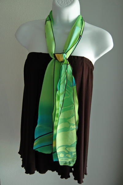 Silk Pieced Scarf Lime #1 - Linda Tilson Studio Venice