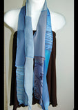 Silk Art Collage Scarf Denim Blues