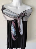 Silk Art Collage Scarf Shades of Grey
