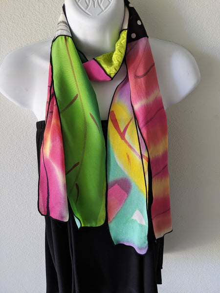 Silk Art Collage Scarf Jazzy Tropical Mix