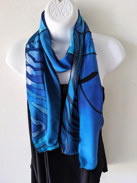 Silk Art Collage Scarf Ocean Blues Mix