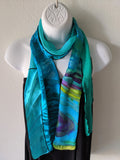 Silk Art Collage Scarf Ocean Turquoise Mix