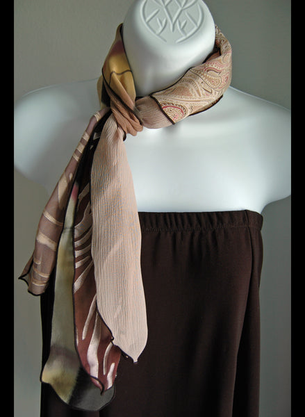 Silk Pieced Scarf Earth Colors #1 - Linda Tilson Studio Venice