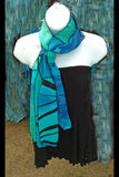 Silk Art Collage Scarf Ocean  Teal Black Mix