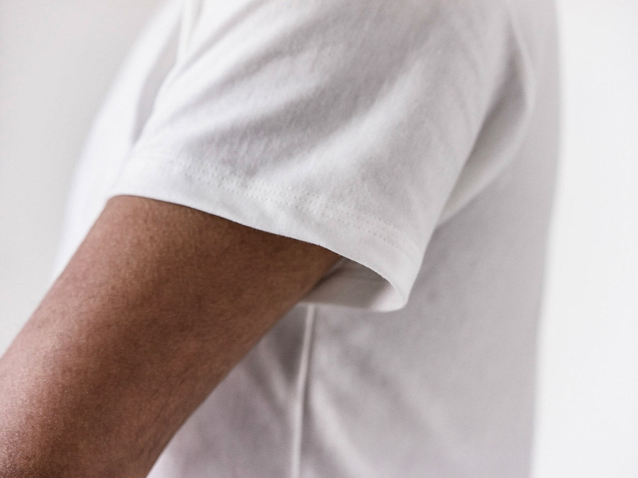 Supima Fitted White T Showing Detail
