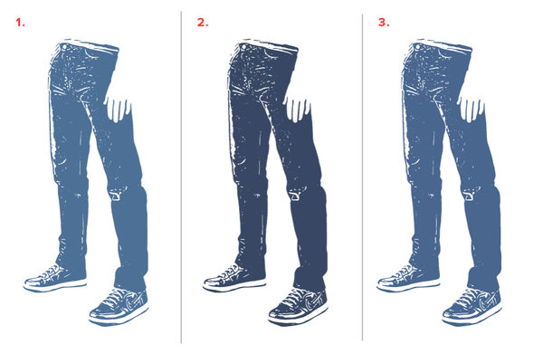 Illustration of our denim wash experiment to show amount of fade for each variant.