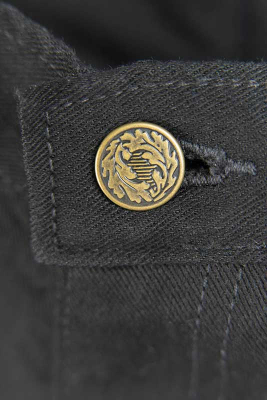 Slim Fit - Black Denim Jeans - Gold leaf Button Made in the U.S.