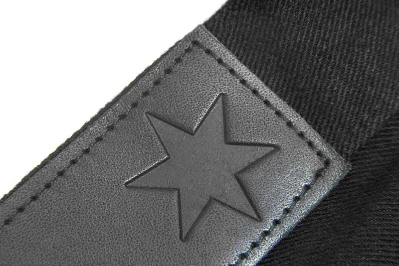 Slim Fit - Black Denim Jeans - Leather Patch Stamped With The Chicago Star