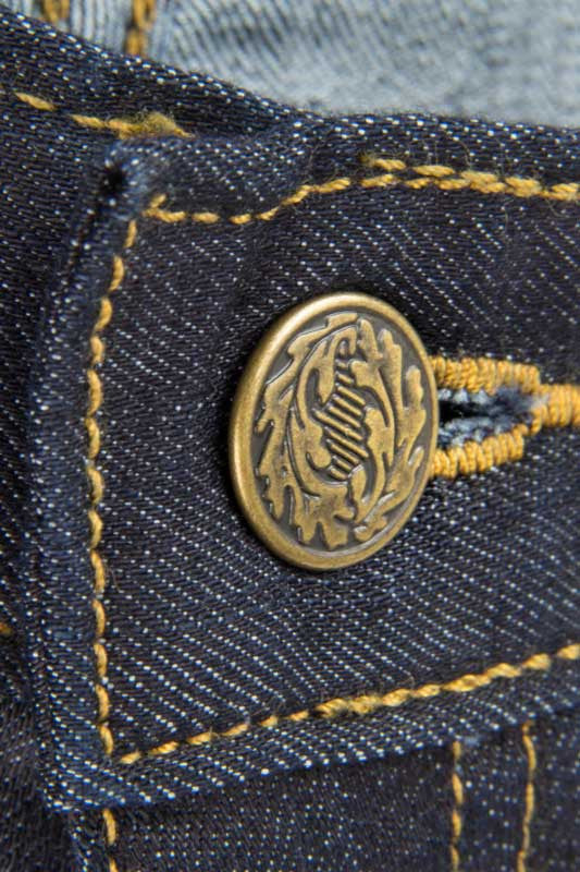 Tailored Fit Dark Wash Denim Jeans - Gold leaf Button Made in the U.S.