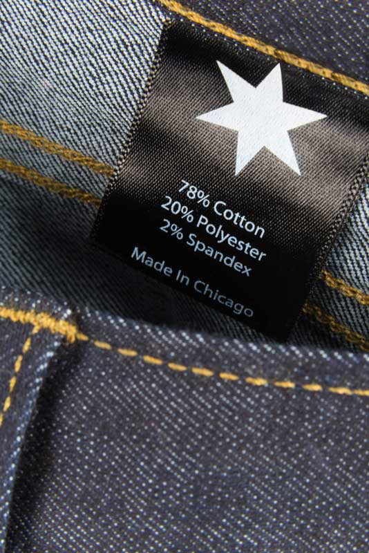 Tailored Fit Dark Wash Denim Jeans - Inside Tag: Made In Chicago