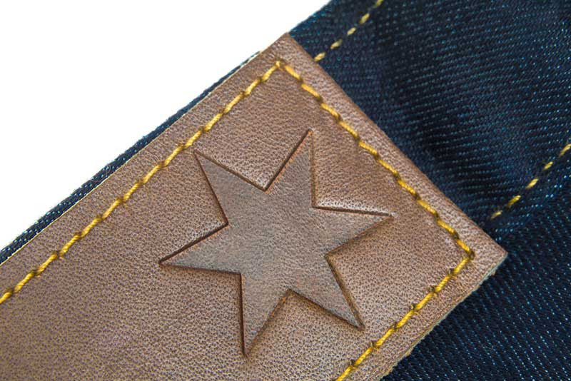 Tailored Fit Dark Wash Denim Jeans - Leather Patch Stamped With The Chicago Star