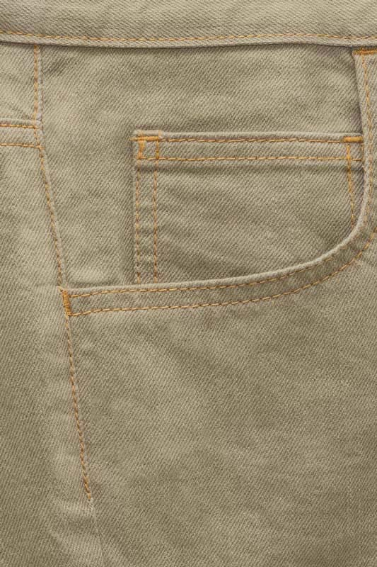 Slim Fit - Khaki Denim Jeans - 5 Pockets