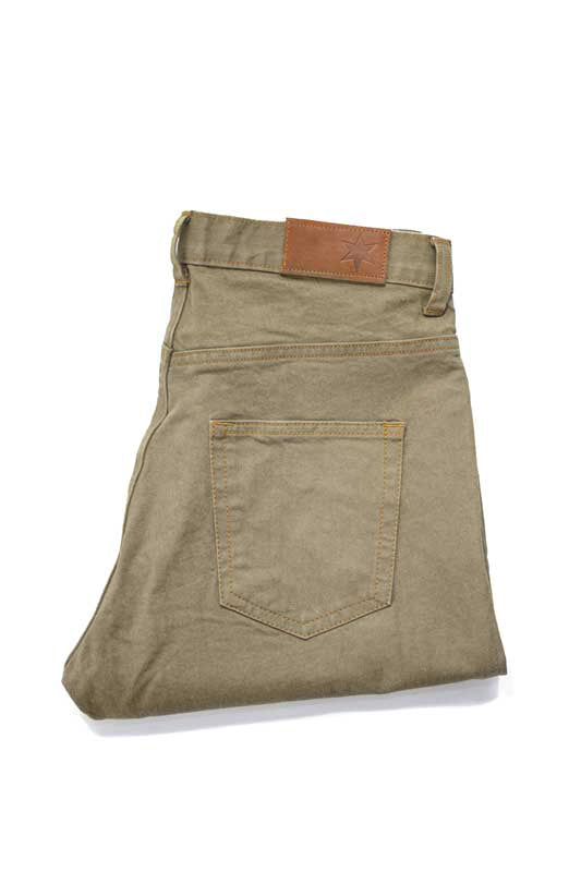 Slim Fit - Khaki Denim Jeans - Backside Folded