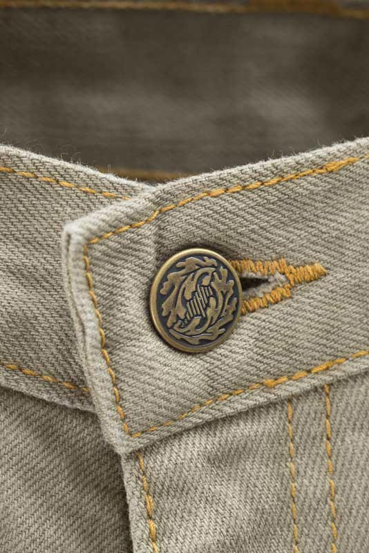 Slim Fit - Khaki Denim Jeans - Gold leaf Button Made in the U.S.