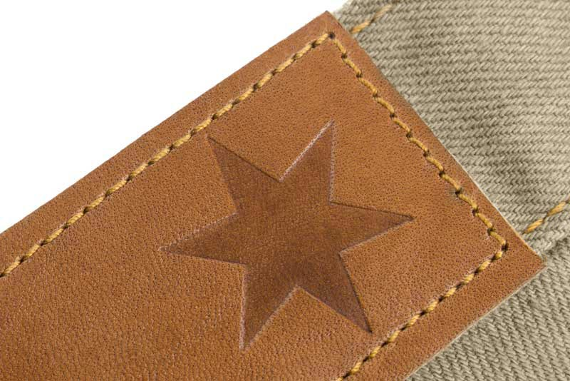 Slim Fit - Khaki Denim Jeans - Leather Patch Stamped With The Chicago Star