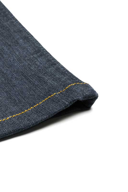 Tailored Fit Medium Wash Denim Jeans - Two Needle Chain Stitch Hem