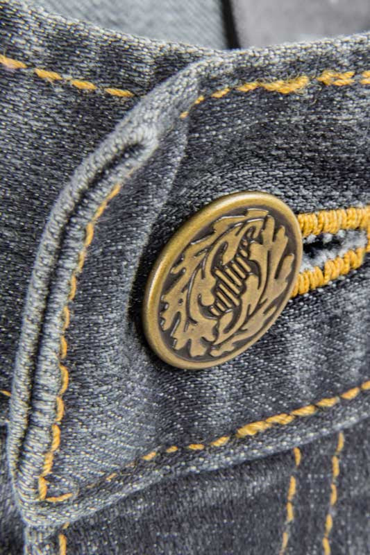 Tailored Fit Medium Wash Denim Jeans - Gold leaf Button Made in the U.S.