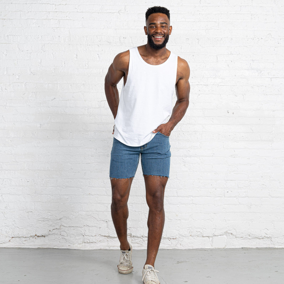 "Light Stretch Denim Shorts length:7"" Inseam hem:Raw"
