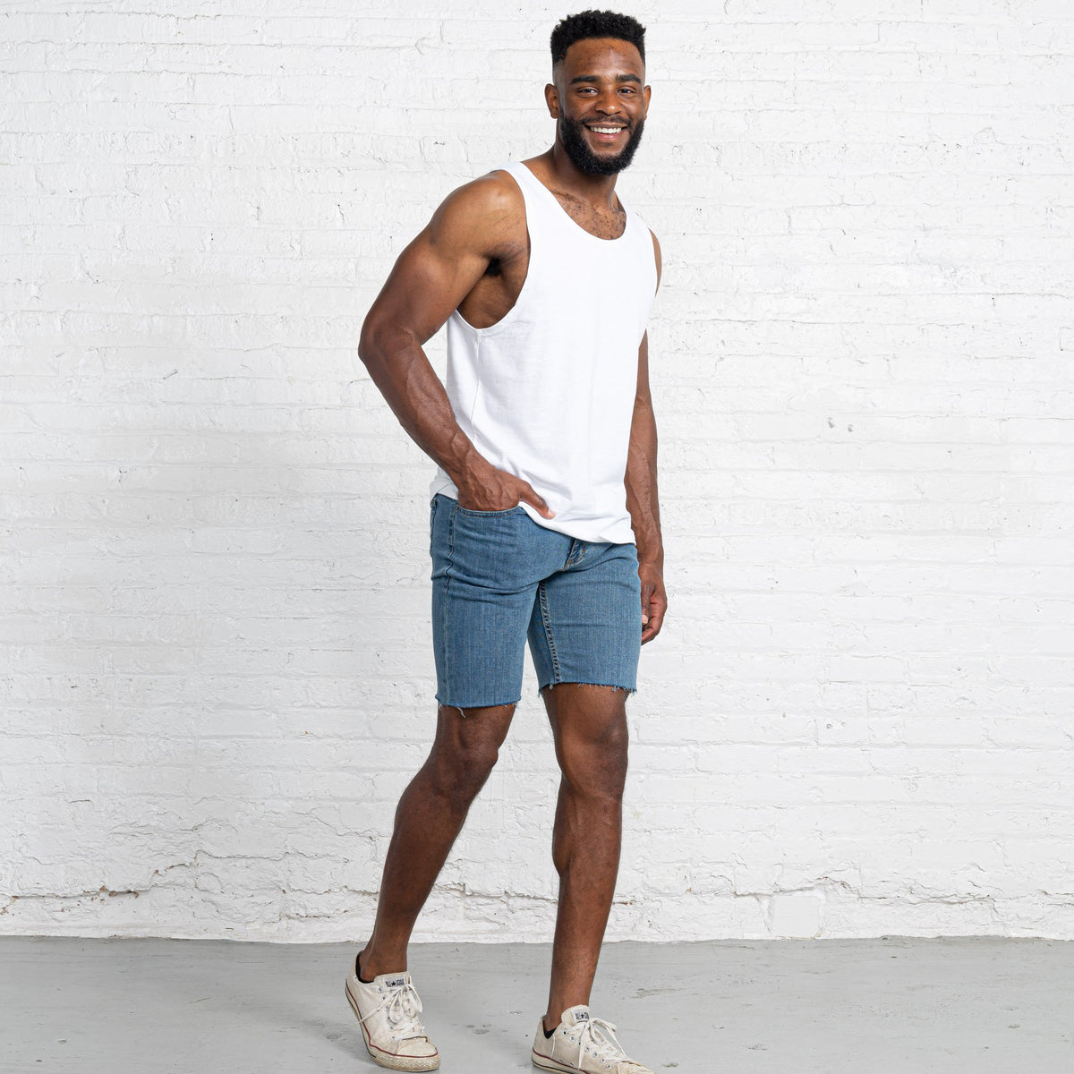 "Light Stretch Denim Shorts length:9"" Inseam Raw"
