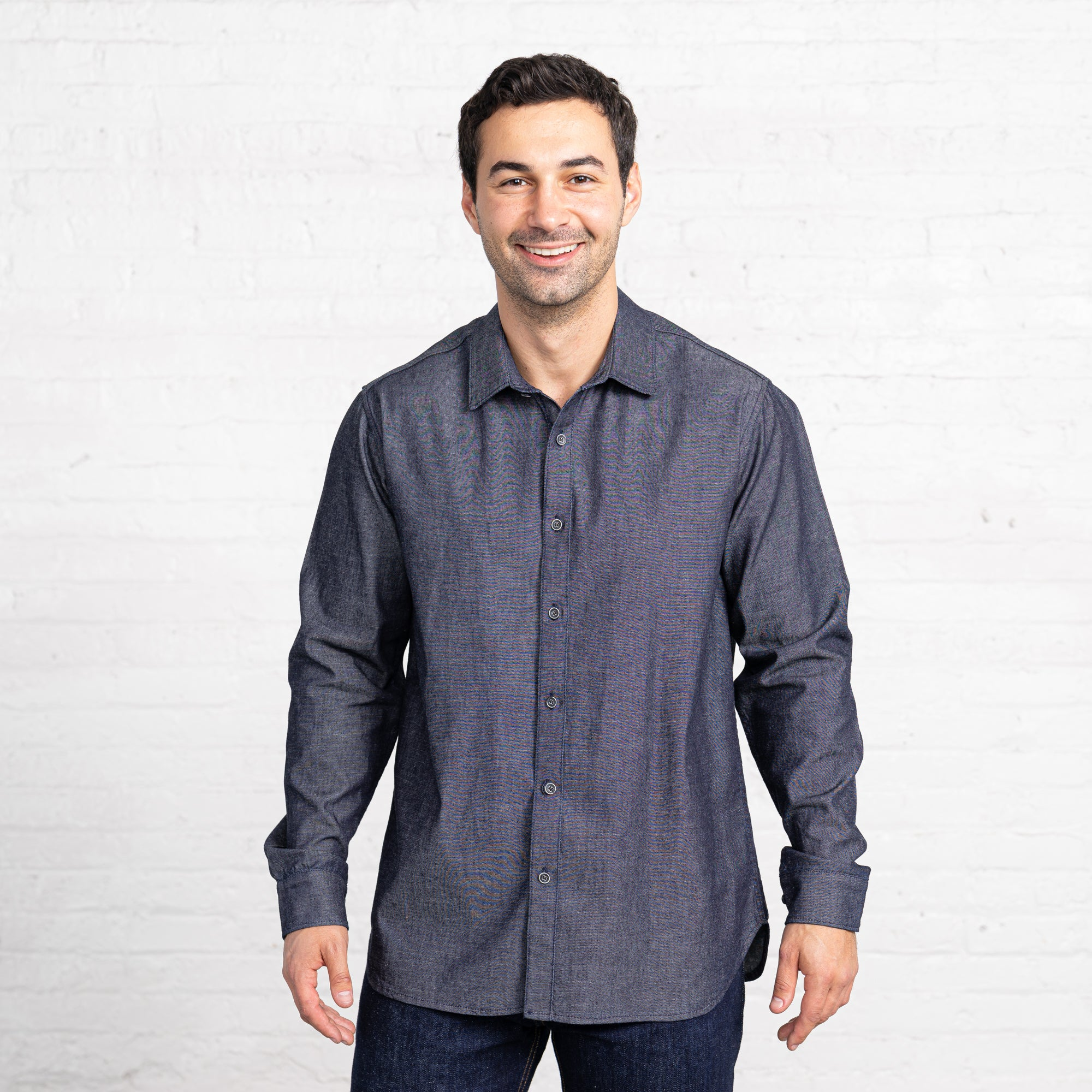Regular Charcoal Chambray Button Downs Men's Button Downs