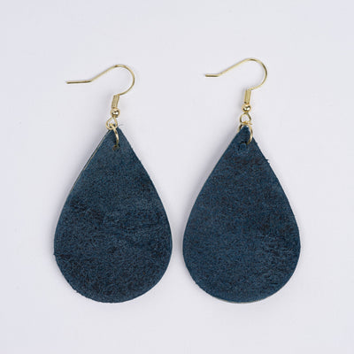 Color:Aqua Blue Horween Leather Earrings