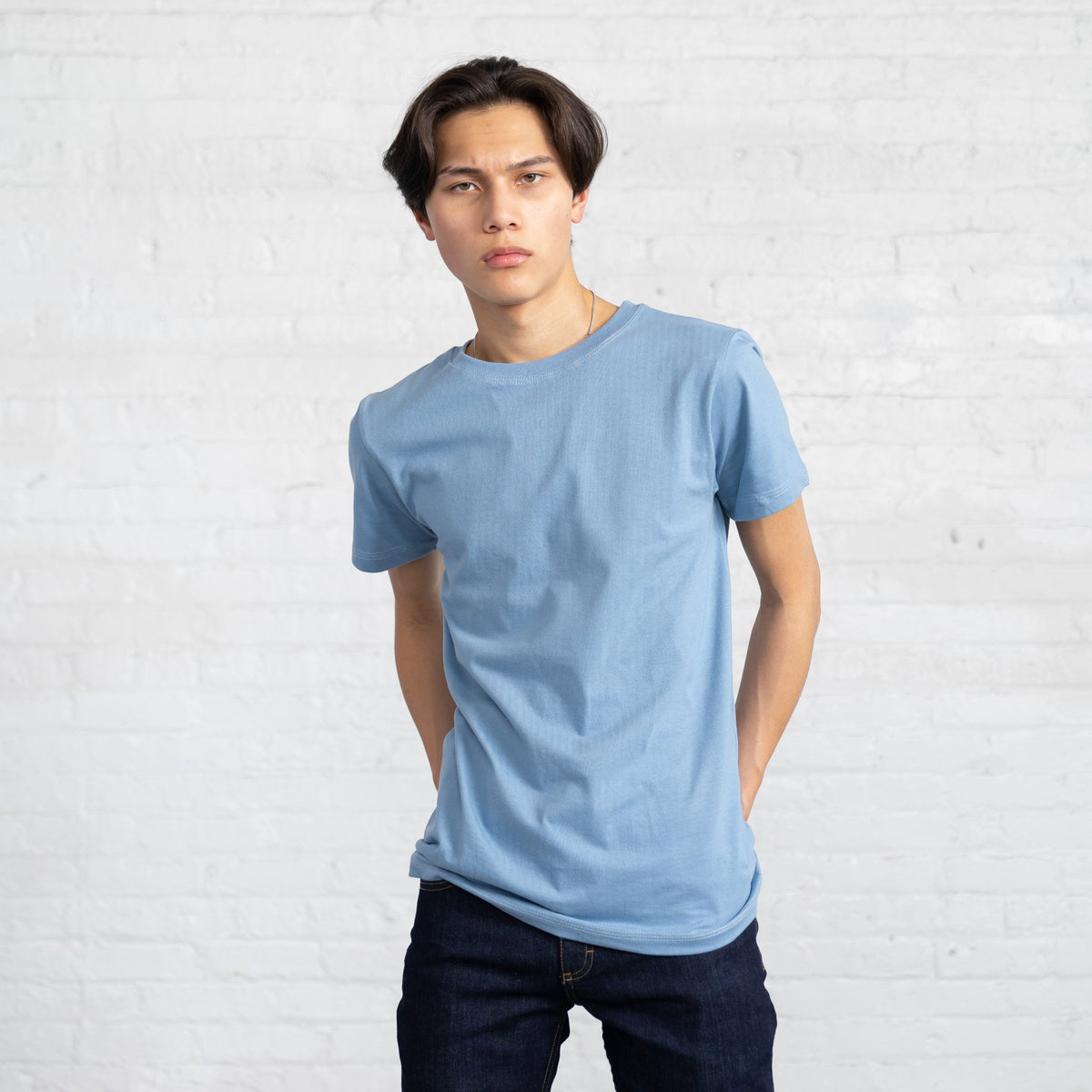 Color:Light Blue Fitted Combed Cotton Men's T-shirts