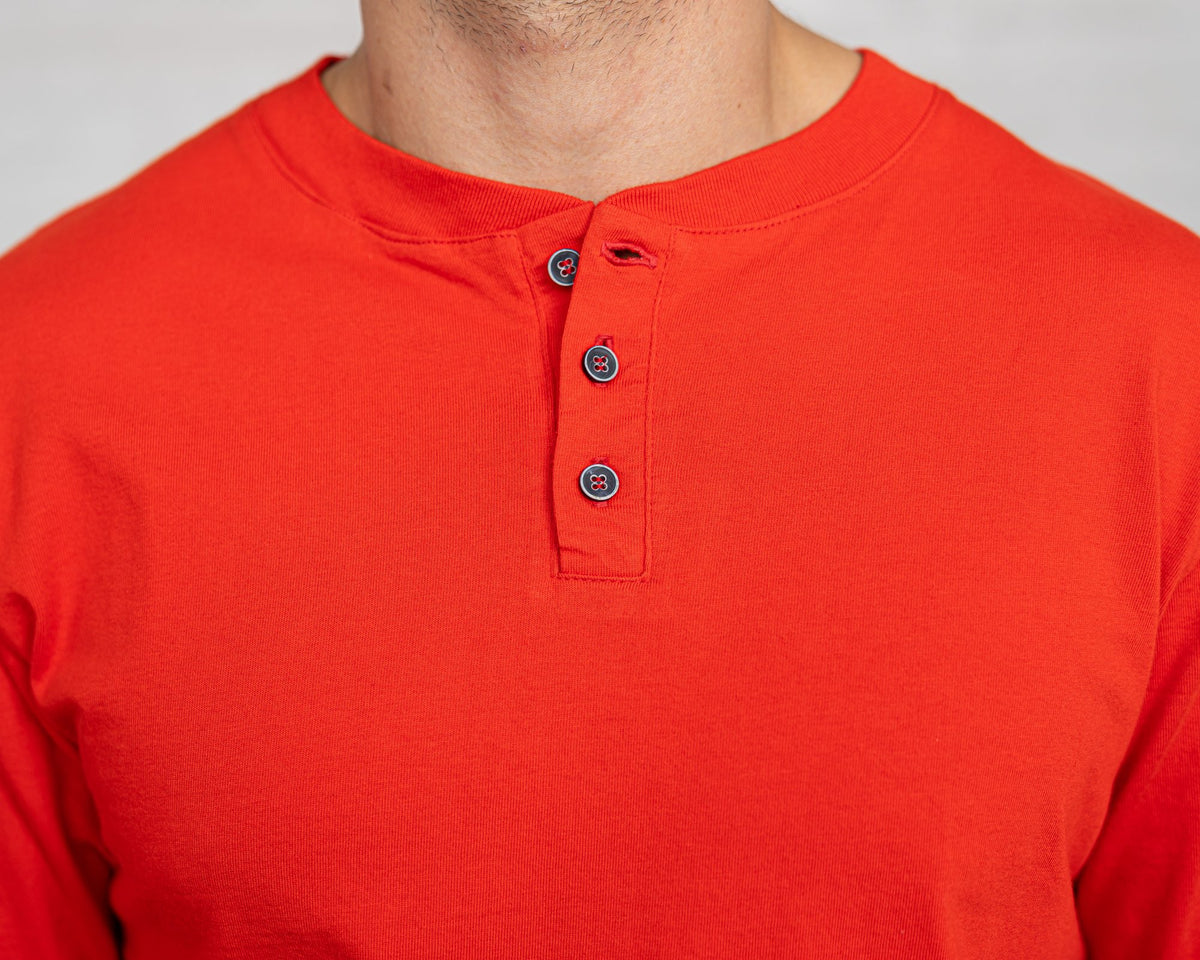 Classic Color:Bright Red Combed Cotton Henleys Mens's Henleys