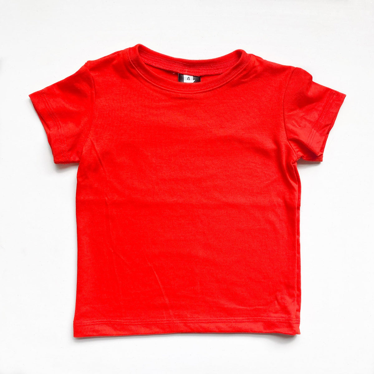 Kids' Classic color:Bright Red Combed Cotton Kids' T-shirts New T-shirts