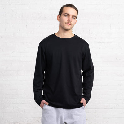 Color:Black Supima Cotton Long Sleeve T-shirts New