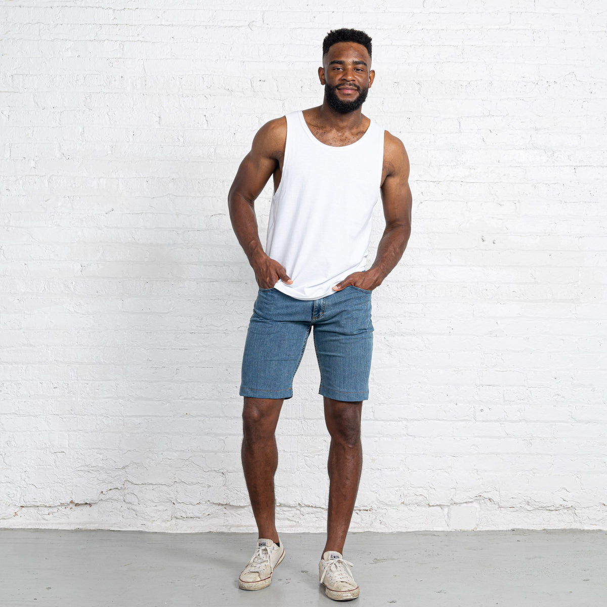 "Light Stretch Denim Shorts length:11"" Inseam hem:Hemmed"