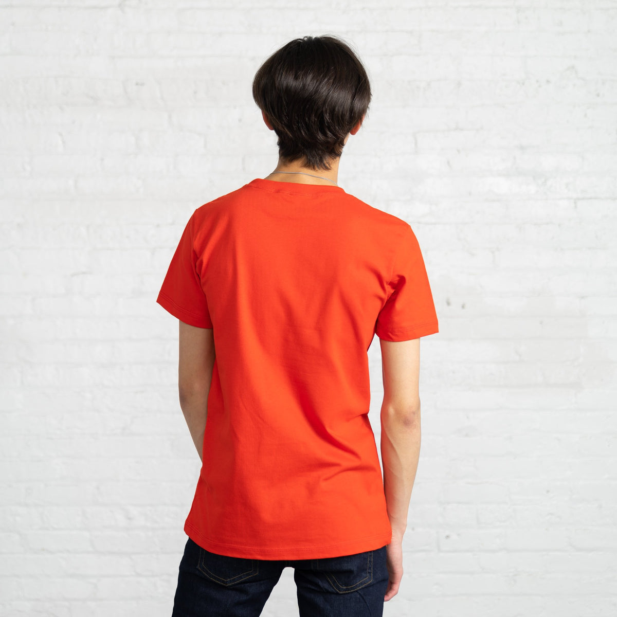 Fitted Color:Bright Red Combed Cotton Men's T-shirts
