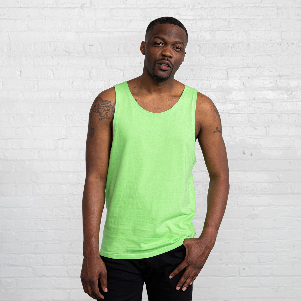 Color:Bright Green  Combed Cotton Men's Tank Top