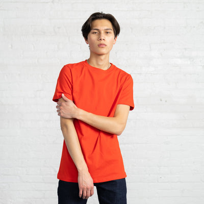 Color:Bright Red Fitted Combed Cotton Men's T-shirt