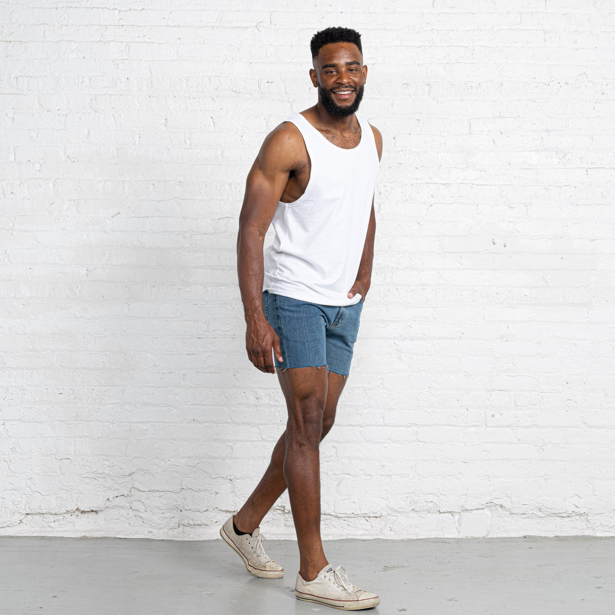 "Light Stretch Denim Shorts length:5"" Inseam Raw"