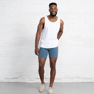 "Light Stretch Denim Shorts length:7"" Inseam hem:Hemmed"