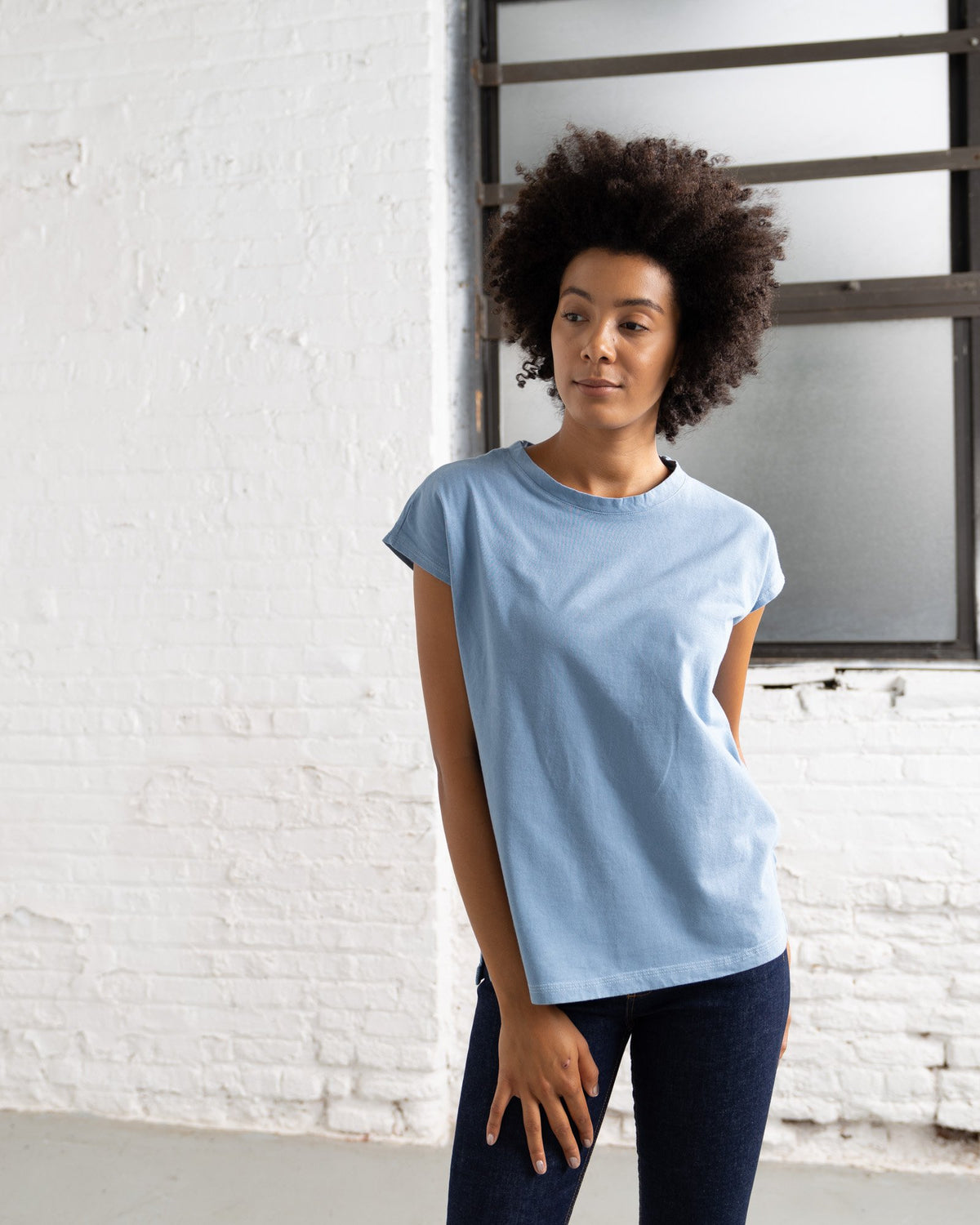 Dolman T Color:Light Blue Combed Cotton New T-shirts Women's T-shirts
