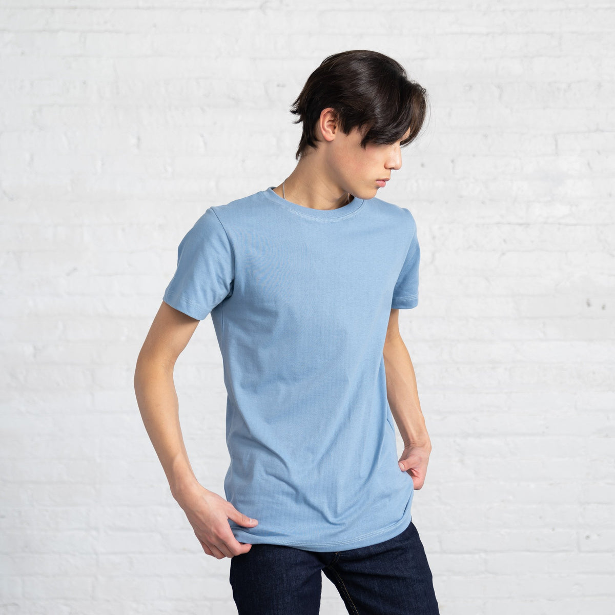 Fitted Color:Light Blue Combed Cotton Men's T-shirts