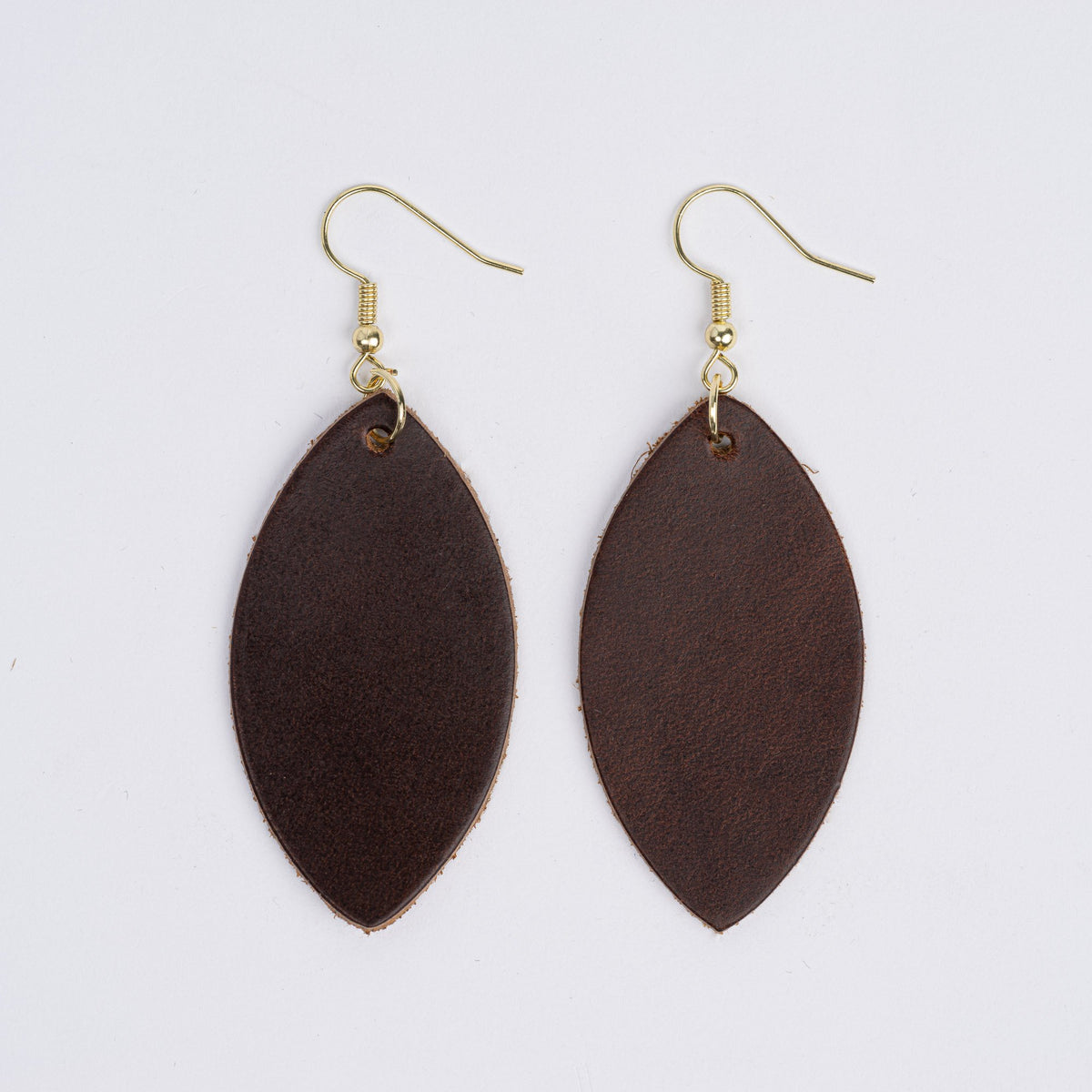 Color:Dark Brown Horween Leather Earrings