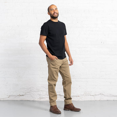 Classic Fit Khaki Stretch Denim Jeans Men's Jeans