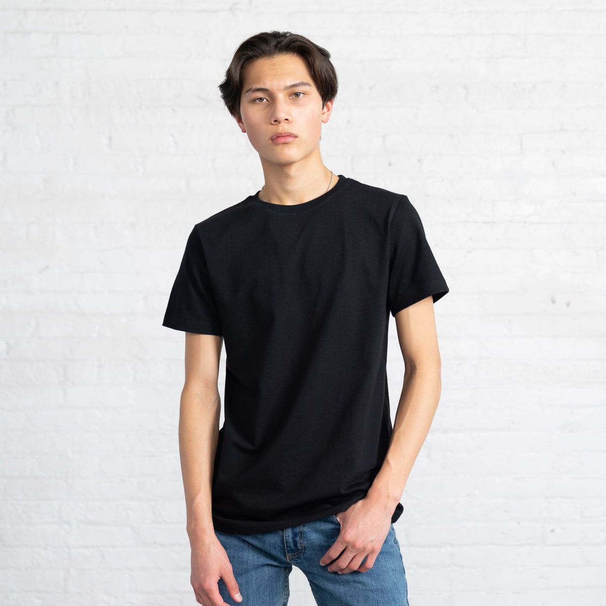 Color:Black Fitted Combed Cotton Men's T-shirts