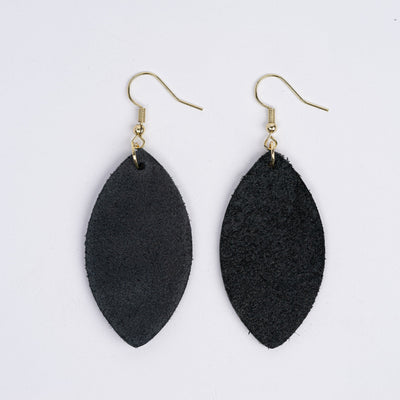 Color:Black Horween Leather Earrings