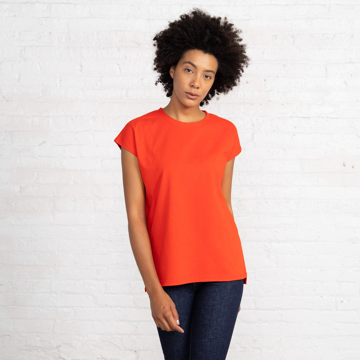 Dolman T Color:Bright Red Combed Cotton New T-shirts Women's T-shirts