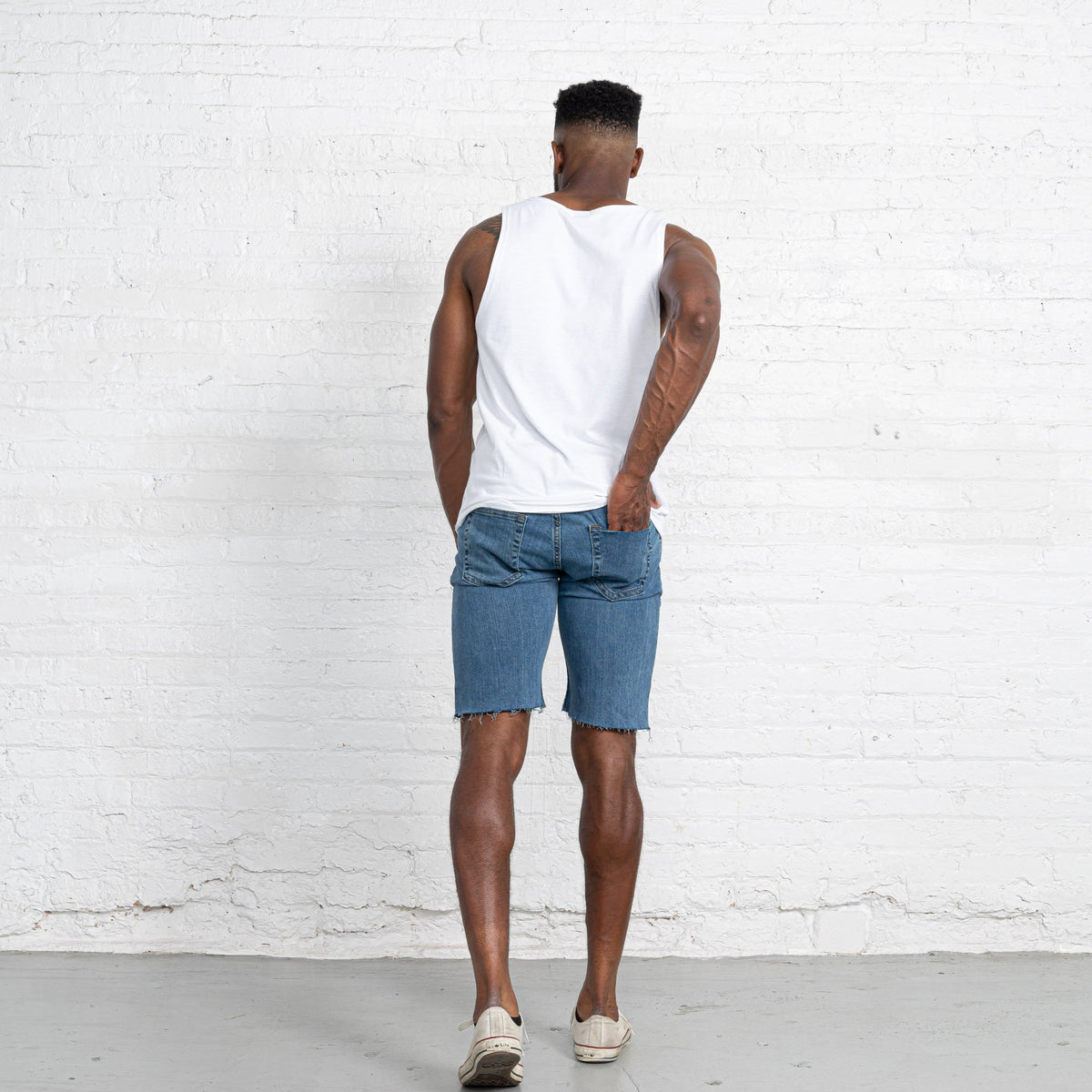 "Light Stretch Denim Shorts length:11"" Inseam Raw"