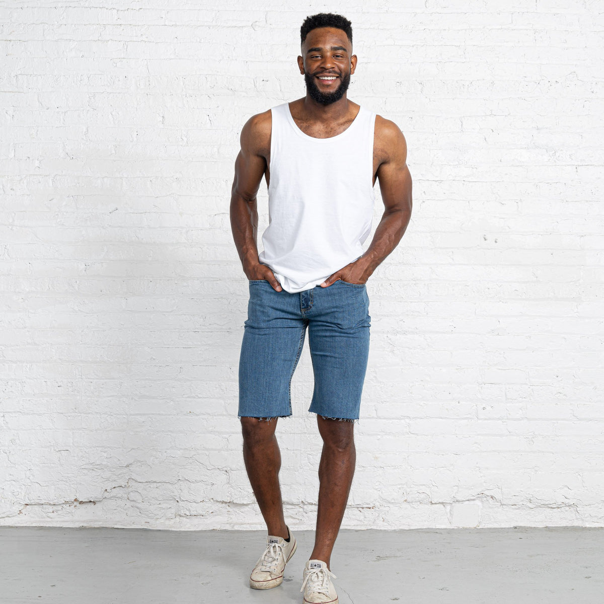 "Light Stretch Denim Shorts length:13"" Inseam hem:Raw"