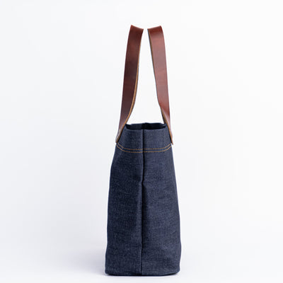 Denim Horween Leather Tote Bag