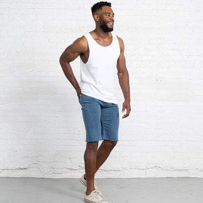 "Light Stretch Denim Shorts length:13"" Inseam Raw"