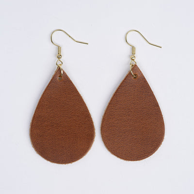Color:Light Brown Horween Leather Earrings