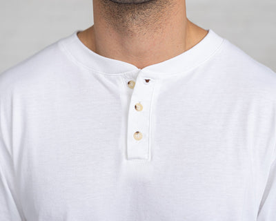 Classic Color:White Combed Cotton Henleys Mens's Henleys